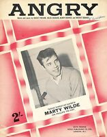 Angry - Marty Wilde - 1960 - Sheet Music