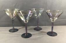 "Set 4 Unbranded Blue Stemmed Iridescent Glass 7"" Martini Glasses"