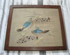 More details for large antique oak framed embroidery needlepoint exotic birds tapestry