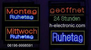 LED Schild Reklame 24 Stunden geöffnet Montag Mittwoche Ruhetag alle 29,90€