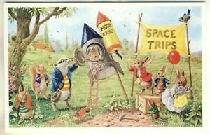 A Medici Society Art Postcard of The Moon Rocket by Racey Helps.