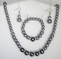 Silver grey glass pearl and crystal necklace bracelet and drop hook earring set