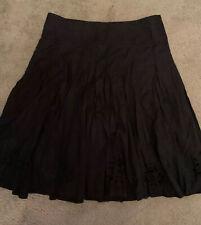 🌹HILLARD & HANSON Women's Linen Blend Black Embroidered Eyelet Skirt Sz 14