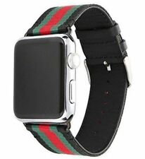 38mm Apple Watch Band Gucci Pattern Leather Sports Band (Black)- PRIORITY SHIP