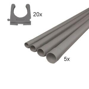 Isolierrohr-Set starr 16-20-25-32 mm 5x Rohr+20xClip Leerrohr Kabel hellgrau