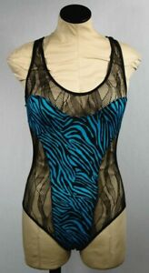 Fredericks of Hollywood Black Teal Animal Print One Piece Body Suit Sz S NWOT