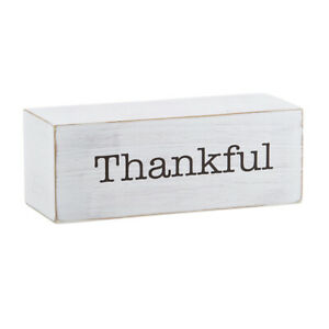 Farmhouse Message Decor Blocks Thankful