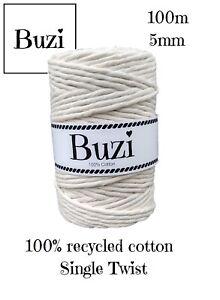Macramé Cord String Single Twisted 100% Recycled Soft Cotton BEIGE ECRU 100m
