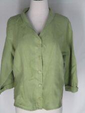 FLAX Green Linen Shirt Top Blouse Jacket S Buton Front
