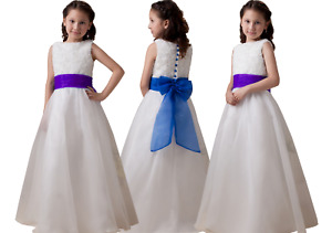 UK Flower Girls Formal Pageant Wedding Bridesmaid Party Dress White/Ivory