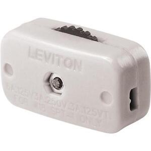 30 Pk Leviton White 3A, 6A 125V, 250V Dial Electric Cord Switch C24-00423-3KW