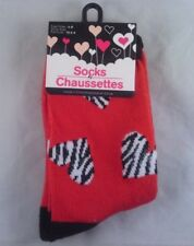 "Girls Valentine's Day Crew Socks Size 6-8 ""Zebra Striped Hearts"" New RED"