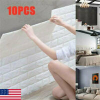 10Pcs Simple 3D Foam Stone Brick Self-adhesive Home Wall Sticker Panels Pads US