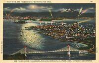 Linen Postcard CA J192 Night View San Francisco Bay Metro Area Birds Eye View