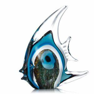 Blue Stripe Tropical Fish Tooarts Glass Sculpture Home Decoration Glass X0A9