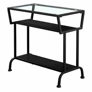 """12"""" x 24"""" x 22"""" Black Metal with Clear Tempered Glass  Accent Table"""