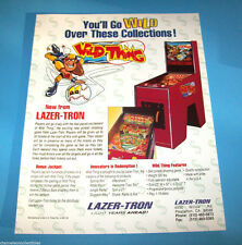 Lazer-Tron WILD THING Original NOS Unique Pinball Machine Redemption Game Flyer