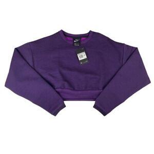Nike Sportswear City Ready Fleece Crew Sweatshirt Crop Purple Women's Size L