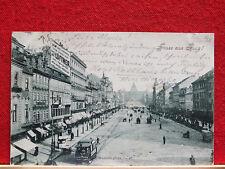 Fotokarte - Gruss aus Prag / Praha - Wenzelsplatz - Strassenbahn - gel 1898   m3