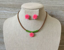 Kids Girls Pink Flower, Green Beads, Brown Cord Necklace & Earrings Set