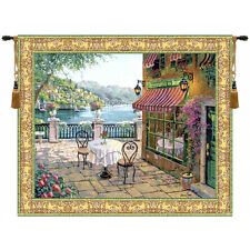 ITALIAN SEASIDE PICTURE TAPESTRY TERRACE TERRASSE VIEW