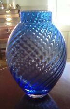 dartington crystal vintage glass devon/bristol blue ripple vase.