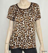 Nwt $79 Michael Kors Mixed Media Short Sleeve Tee Top T-Shirt ~Leopard/Brown *M