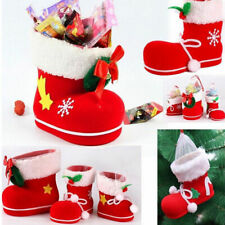 New Christmas Xmas Flocking Red Boots Socks Candy Gift Bag For Kids Winter Decor