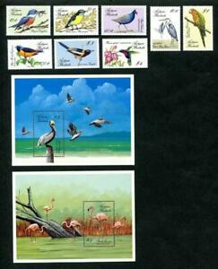 [AB] ANTIGUA & BARBUDA 1988 BIRDS, SET OF 8 STAMPS + 2 SOUVENIR SHEETS.