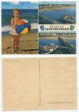 28236 - Groeten uit Scheveningen - Mädchen mit Gummiball - alte Ansichtskarte