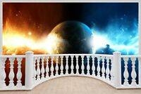 Huge 3D Balcony Space Universe Wall Stickers Wallpaper Mural 878