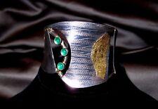 1-of-a-Kind Studio Designer Sterling Silver 24Kt Gold Chrysoprase Cuff Bracelet