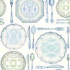 Dinnerware Wallpaper by York in Blues, Greens, Cream    AM8732
