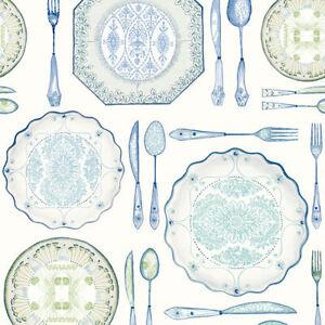 Dinnerware Wallpaper by York in Blues, Greens, Cream    AM8732