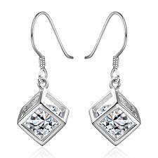 Women 925 Sterling Silver Plated Ear Hook Dangle Crystal Rhinestone Earrings