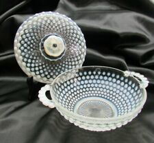 Vintage Fenton Opalescent Hobnail Candy Dish With Lid