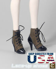 "1/6 Scale Lace Up Leather Boots C For 12"" Hot Toys TBLeague Female Figure U.S.A."