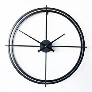 New Ivory & Deene Black Metal Wall Clock Modern Design Hanging Minimal Decor