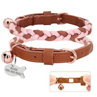 Braided Rope and Leather Stitching Pet Puppy Dog Cat Collar &Custom Name ID Tag