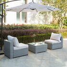 3pc Furniture Patio Outdoor Wicker Rattan Chair Sofa Set Garden Table Cushion