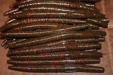 """5"""" Stick Senko Style Green Pumpkin Red Fleck 50 pack Bulk Bass Plastic Worms"""