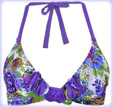 Betsey Johnson ROMANCE Berry Swimsuit Bikini Halter Top D Cup NWT