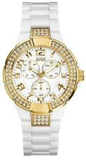 New Authentic GUESS  Women White Plastic Gold-tone 3 dials Watch U11623L1 , NWT