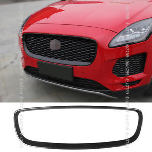 For Jaguar E-PACE 18-19 ABS Carbon fiber texture Front Grille Outline Trim cover
