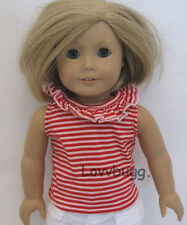 "Red Stripes Top Shirt Clothes for 18"" American Girl & Baby Doll Best Selection!"