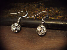 Vintage Round Ball Clear Crystal Drop Pierced Hook Earrings