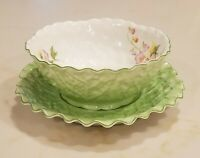 Vintage Noritake Mayonnaise Bowl Leaf Plate Underplate Green Floral Hand Painted