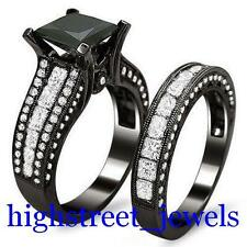 AAA Jet Black Diamond Ring 3.34 Ct Princess Diamond Bridal Set (SSWP) #!