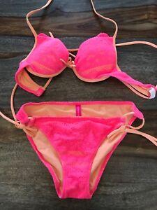 Womens Victorias Secret Bikini 2 Piece pink Lace Swim Bathing Suit, size S/32A