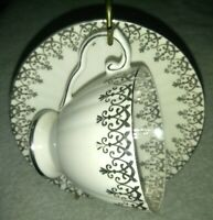 ROYAL GRAFTON ENGLAND FINE BONE CHINA TEA CUP & SAUCER silver embroidered vtg